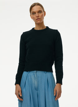 Tube Yarn Shrunken Crewneck Pullover Tube Yarn Shrunken Crewneck Pullover