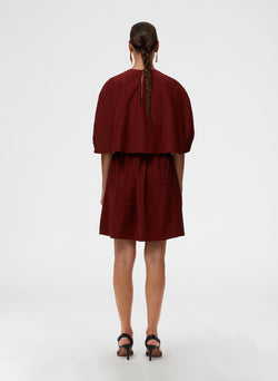 Gemma Viscose Shirred Waist Short Cape Dress Gemma Viscose Shirred Waist Short Cape Dress