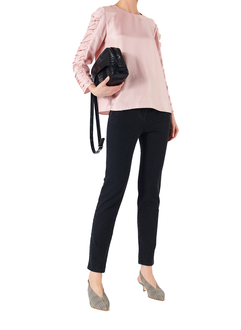 Mendini Twill Shirred Sleeve Top Blush-5