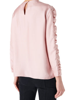 Mendini Twill Shirred Sleeve Top Blush-2