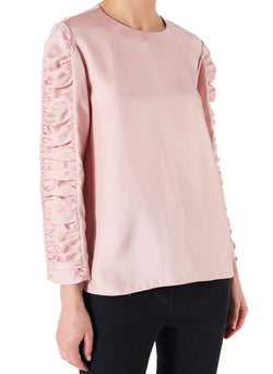 Mendini Twill Shirred Sleeve Top Blush-1
