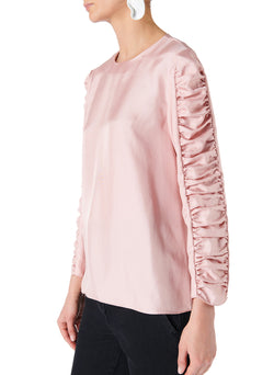 Mendini Twill Shirred Sleeve Top Blush-3
