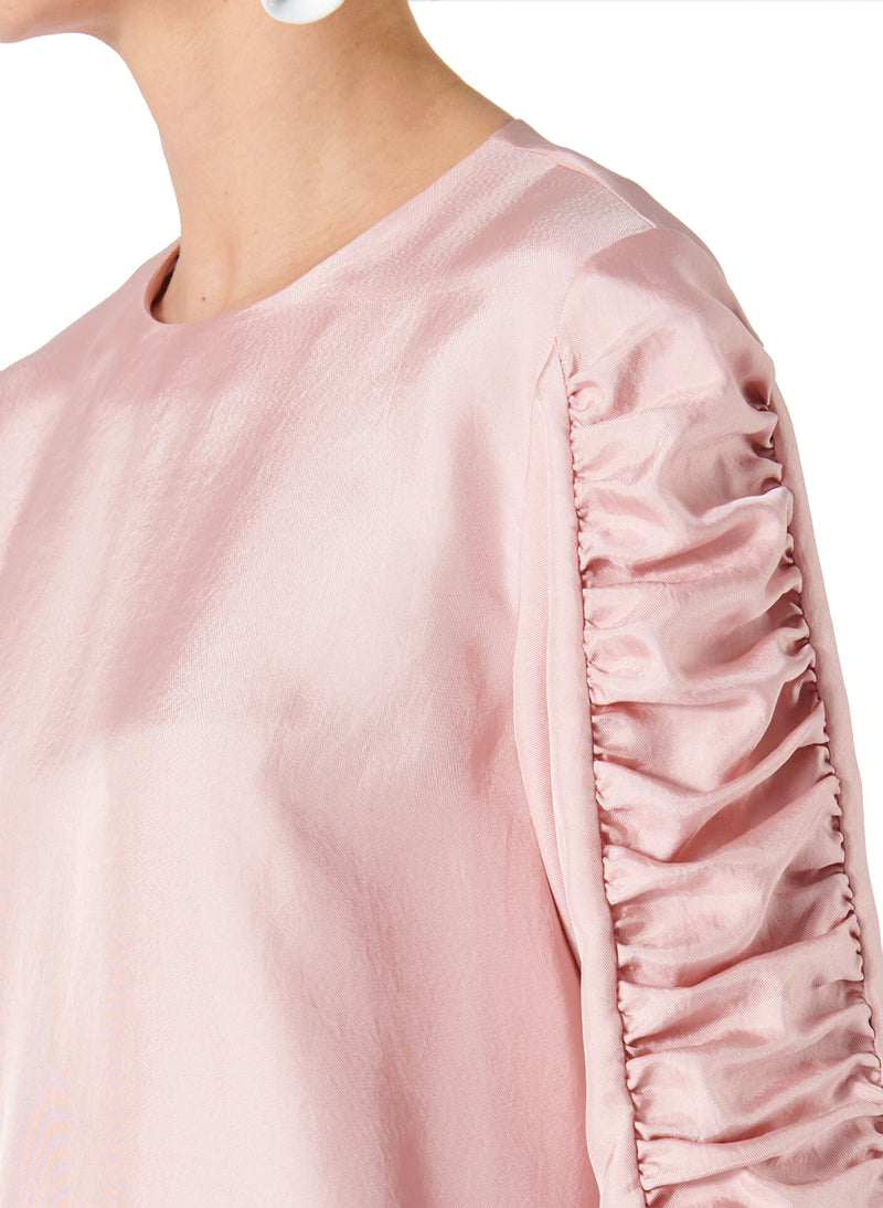 Mendini Twill Shirred Sleeve Top Blush-4