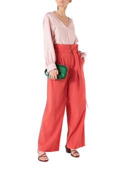 Mendini Twill V-Neck Buckle Back Top Blush-5