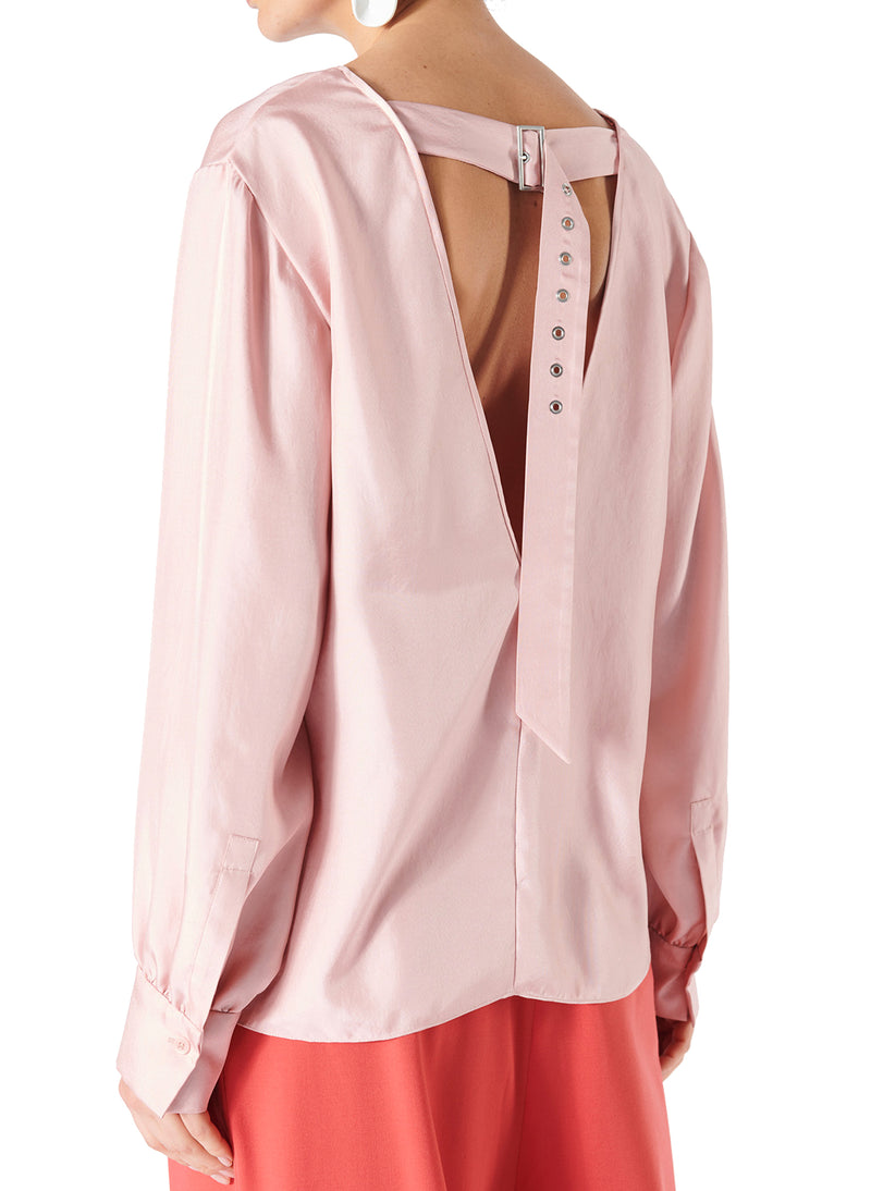 Mendini Twill V-Neck Buckle Back Top Blush-2