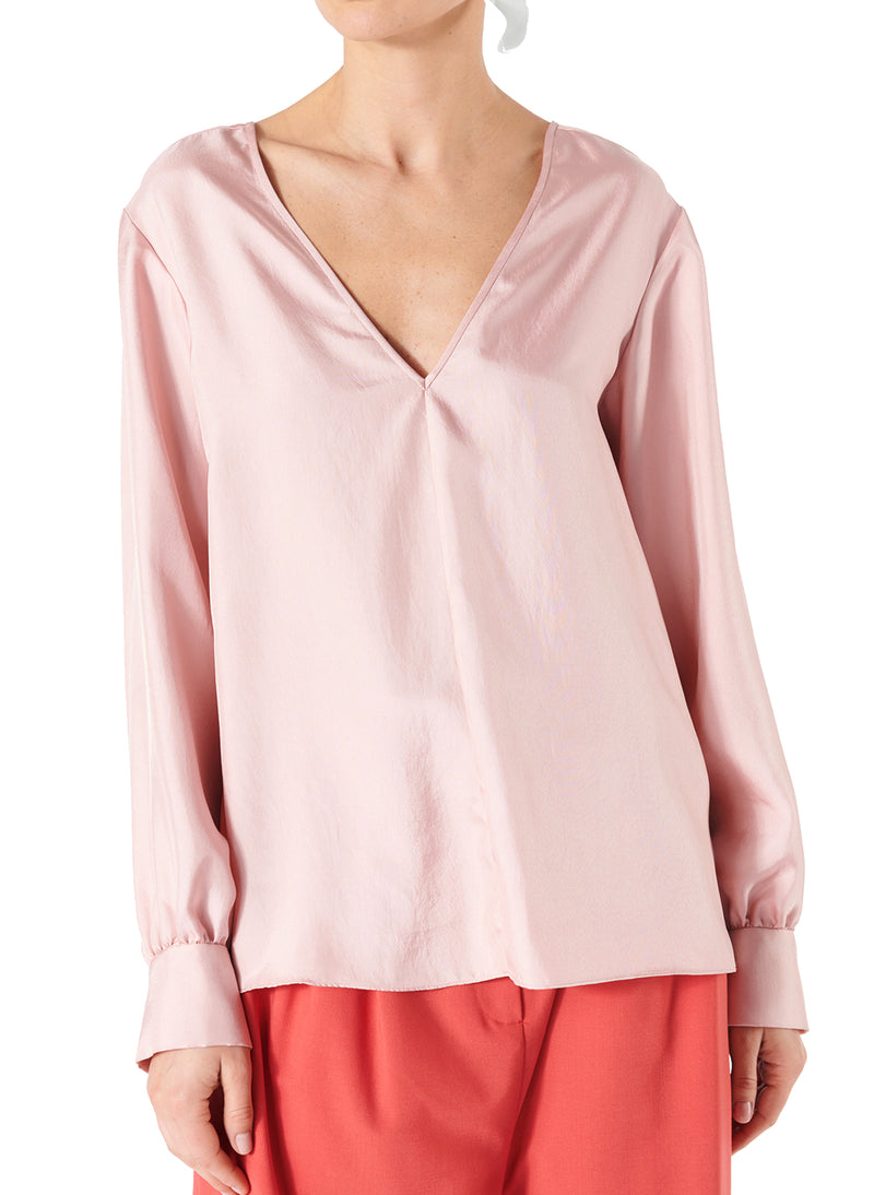 Mendini Twill V-Neck Buckle Back Top Blush-1