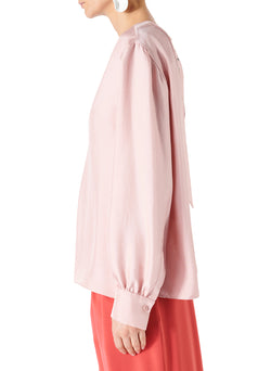 Mendini Twill V-Neck Buckle Back Top Blush-3