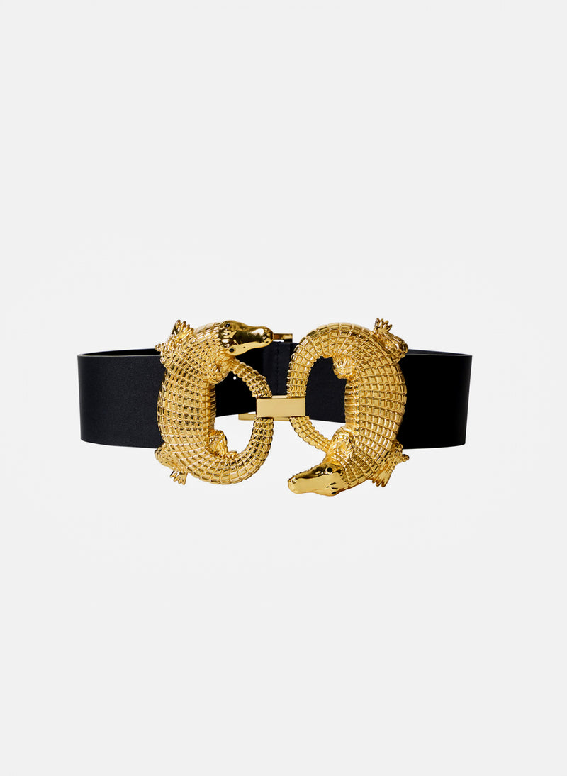 Alligator Belt Black/Gold Multi-2
