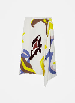 Ant Farm Print Asymmetrical Skirt White Multi-6