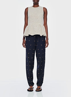 Ant Embroidery Pull On Pant Dark Navy/Caramel Multi-1