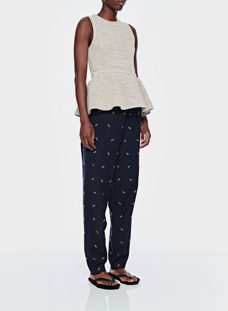 Ant Embroidery Pull On Pant Dark Navy/Caramel Multi-2