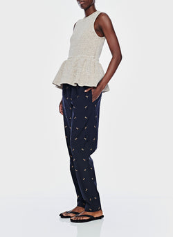 Ant Embroidery Pull On Pant Dark Navy/Caramel Multi-4