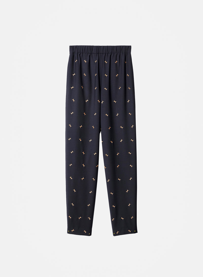 Ant Embroidery Pull On Pant Dark Navy/Caramel Multi-6