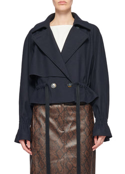 Bonded Lightweight Felted Wool Cropped Trench Navy-1