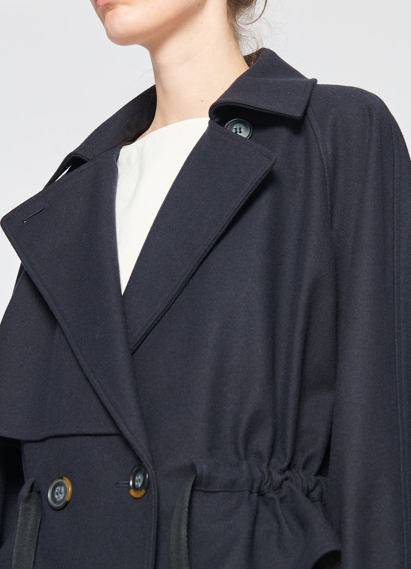 Bonded Lightweight Felted Wool Cropped Trench Navy-6