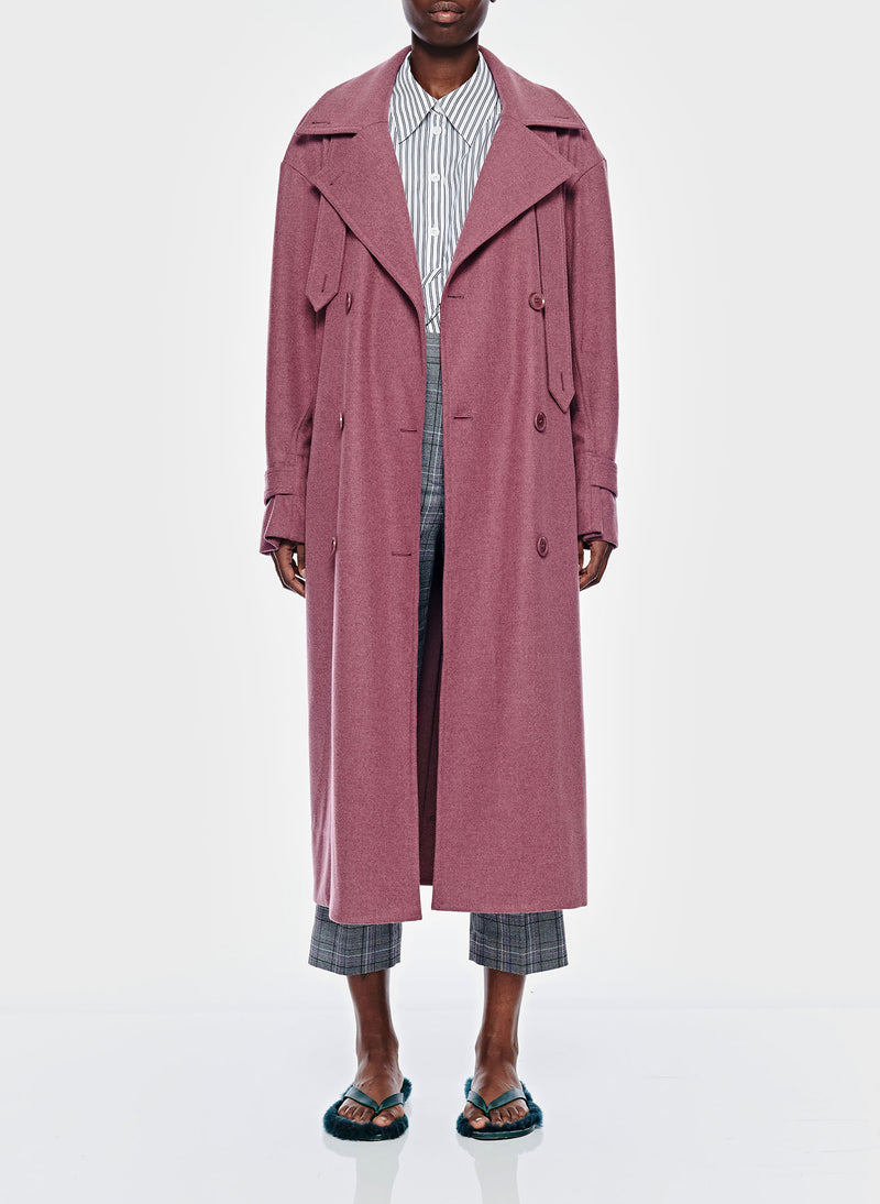 Bonded Lightweight Wool Trench Dusty Plum-1