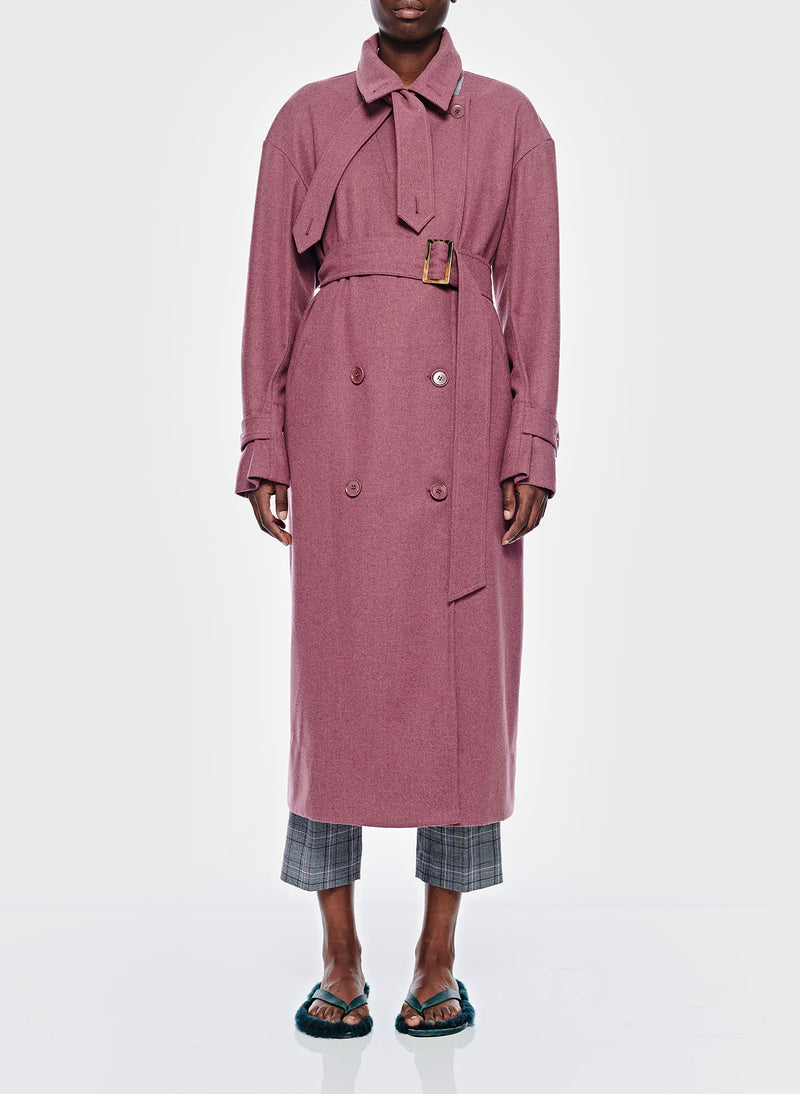 Bonded Lightweight Wool Trench Dusty Plum-2