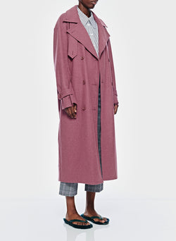 Bonded Lightweight Wool Trench Dusty Plum-3