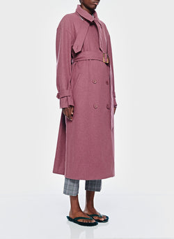 Bonded Lightweight Wool Trench Dusty Plum-4