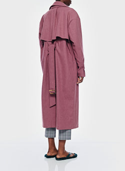Bonded Lightweight Wool Trench Dusty Plum-5