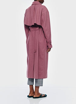 Bonded Lightweight Wool Trench Dusty Plum-6