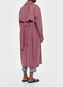 Bonded Lightweight Wool Trench Dusty Plum-7