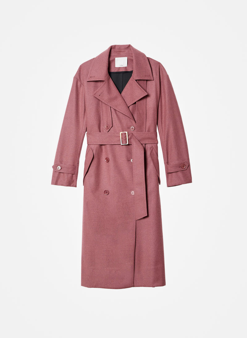 Bonded Lightweight Wool Trench Dusty Plum-8