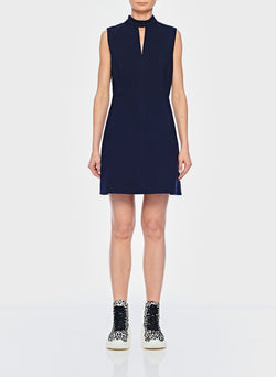 Bond Stretch Knit Sleeveless A-Line Dress Navy-1