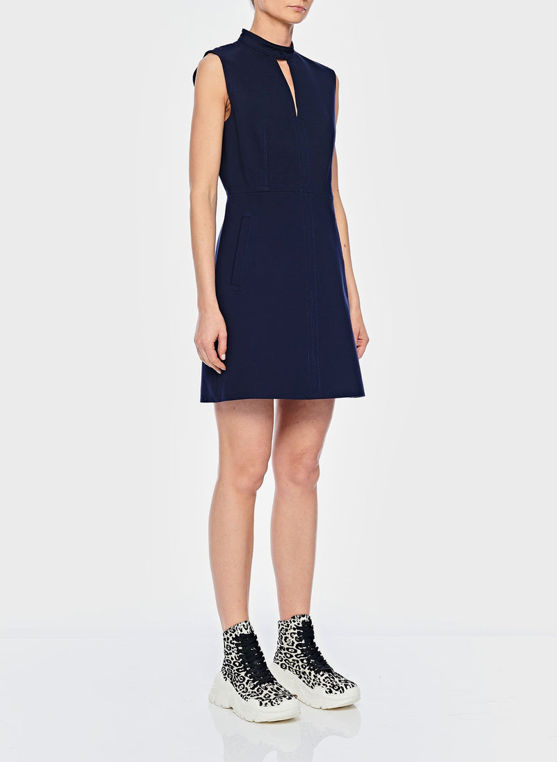 Bond Stretch Knit Sleeveless A-Line Dress Navy-2