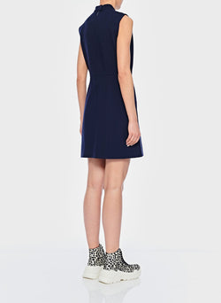 Bond Stretch Knit Sleeveless A-Line Dress Navy-3