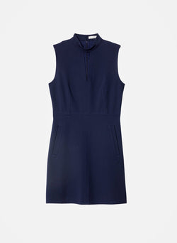 Bond Stretch Knit Sleeveless A-Line Dress Navy-5