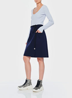Bond Stretch Knit A-Line Skirt Navy-9