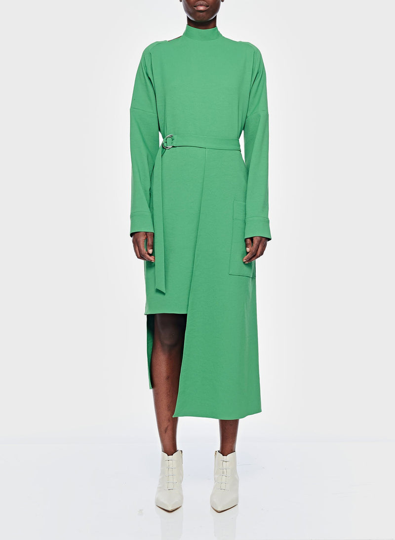 Chalky Drape Cut Out Dress with Removable Apron Basil Green-1