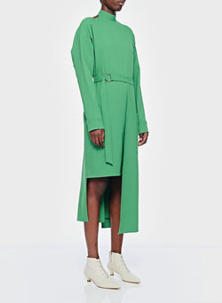 Chalky Drape Cut Out Dress with Removable Apron Basil Green-3