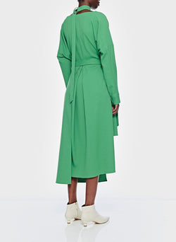 Chalky Drape Cut Out Dress with Removable Apron Basil Green-4