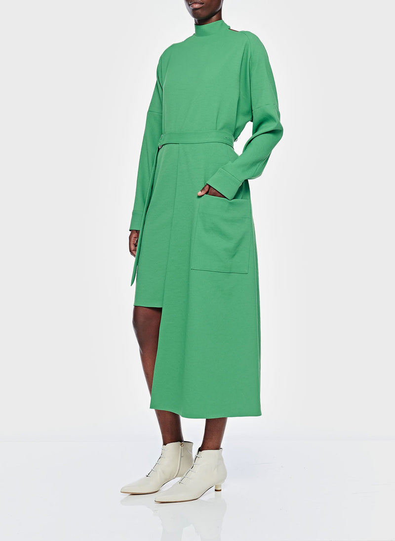 Chalky Drape Cut Out Dress with Removable Apron Basil Green-6