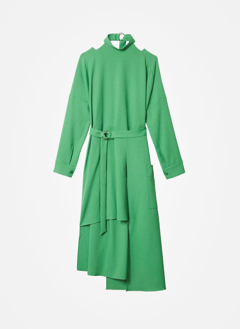Chalky Drape Cut Out Dress with Removable Apron Basil Green-7
