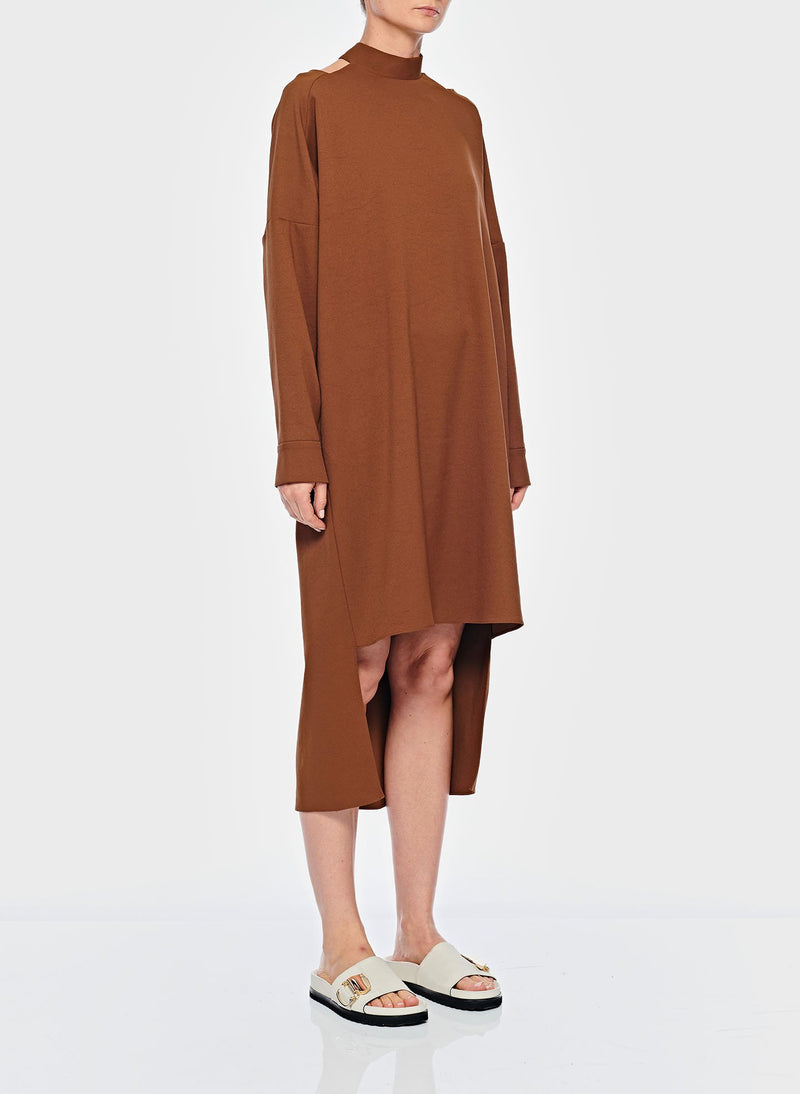 Chalky Drape Cut Out Dress with Removable Apron Tuscan Brown-11