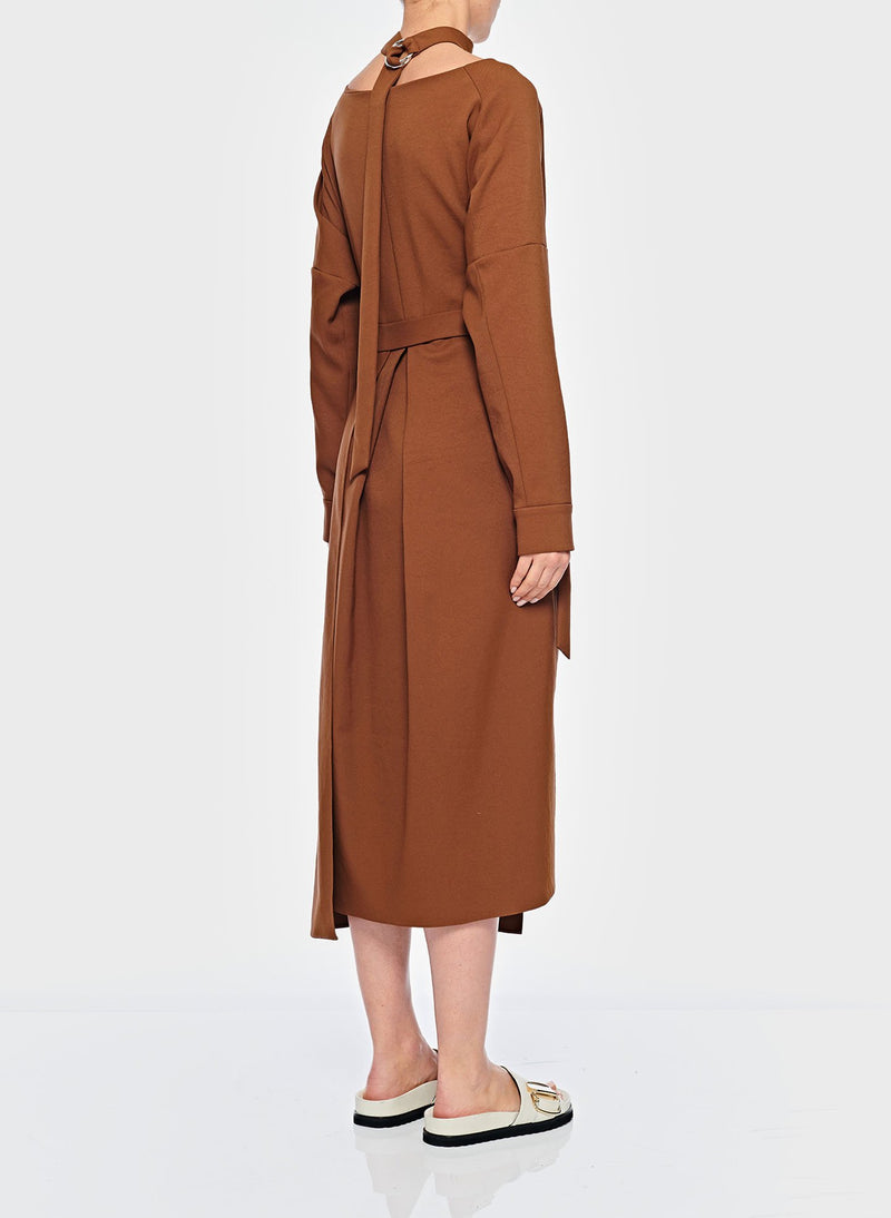 Chalky Drape Cut Out Dress with Removable Apron Tuscan Brown-12