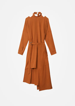 Chalky Drape Cut Out Dress with Removable Apron Tuscan Brown-15