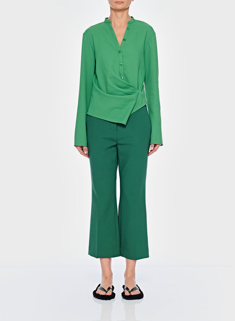 Chalky Drape Draped Blouse Basil Green-8