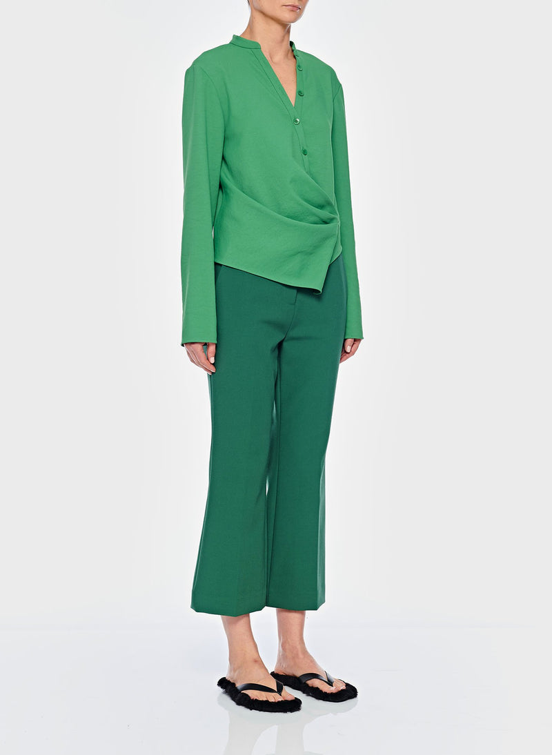 Chalky Drape Draped Blouse Basil Green-10