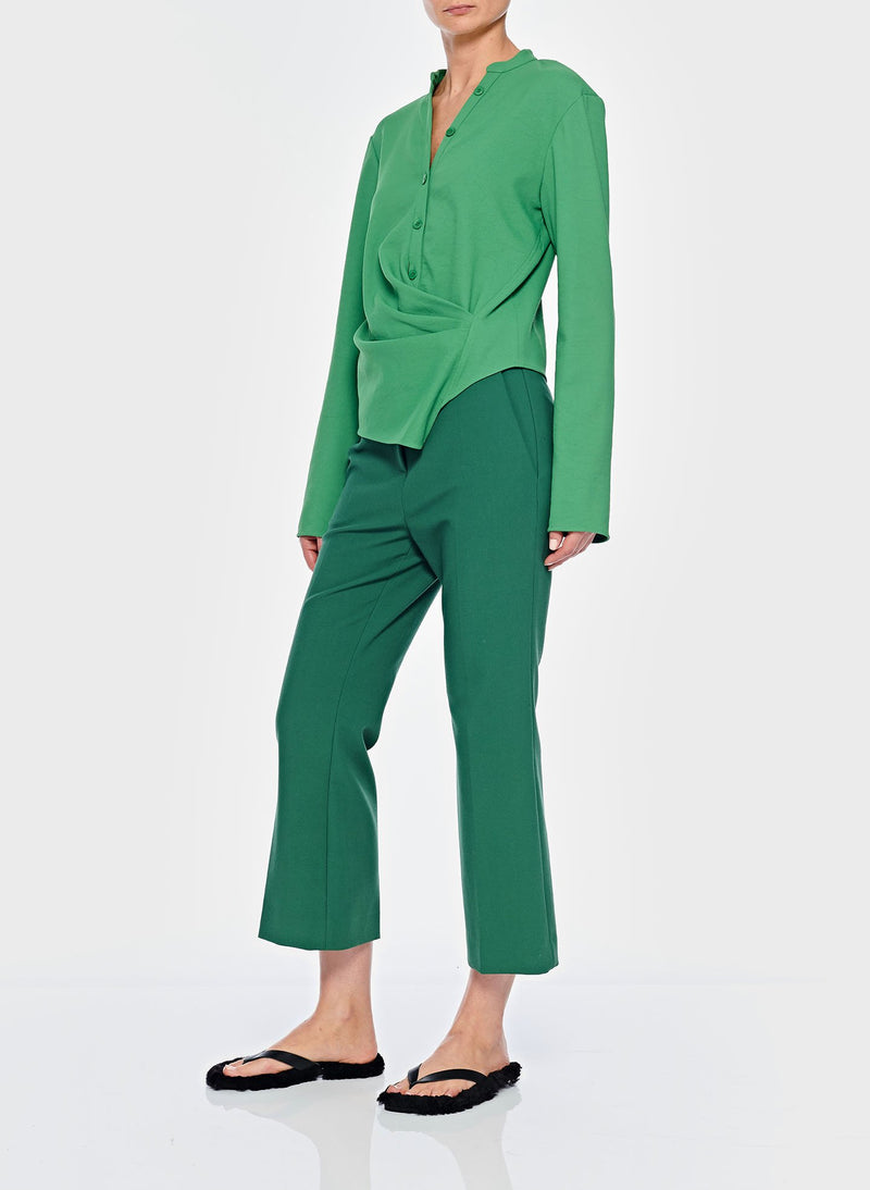 Chalky Drape Draped Blouse Basil Green-12