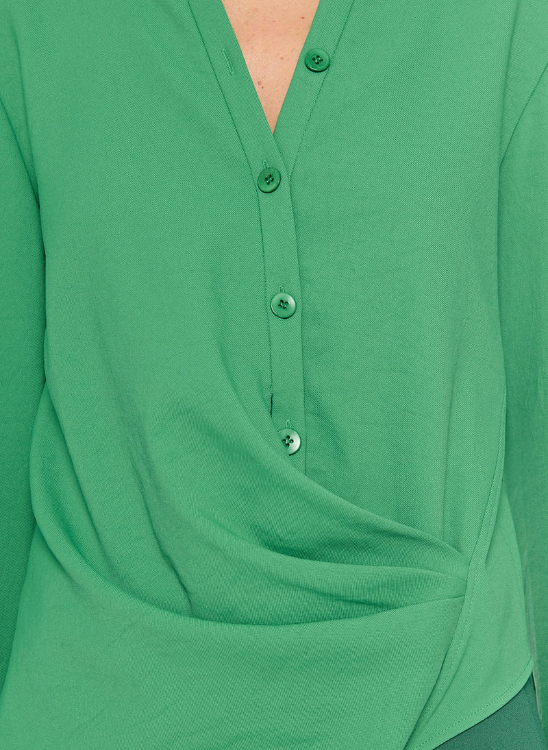 Chalky Drape Draped Blouse Basil Green-14