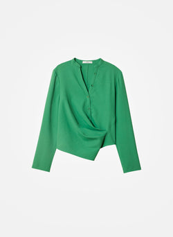 Chalky Drape Draped Blouse Basil Green-9