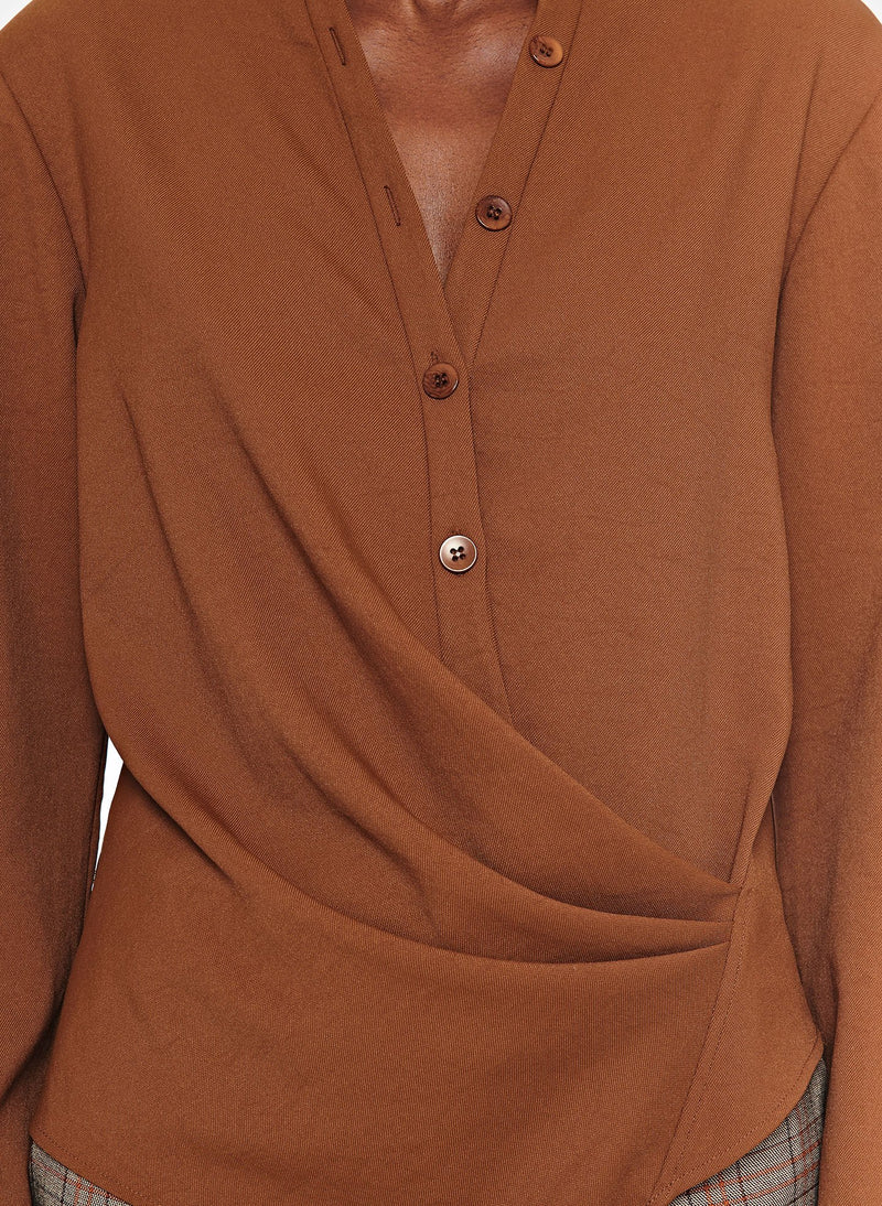 Chalky Drape Draped Blouse Tuscan Brown-7