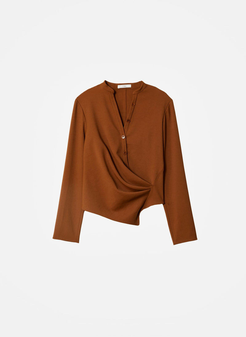 Chalky Drape Draped Blouse Tuscan Brown-2