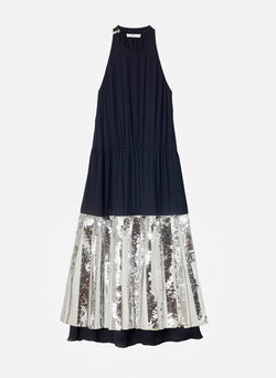 Claude Sequin Layered Halter Dress Navy-4