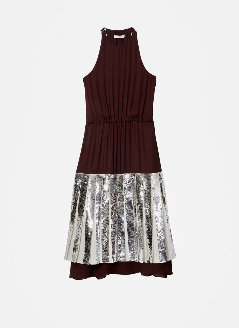 Claude Sequin Layered Halter Dress Brown Multi-5