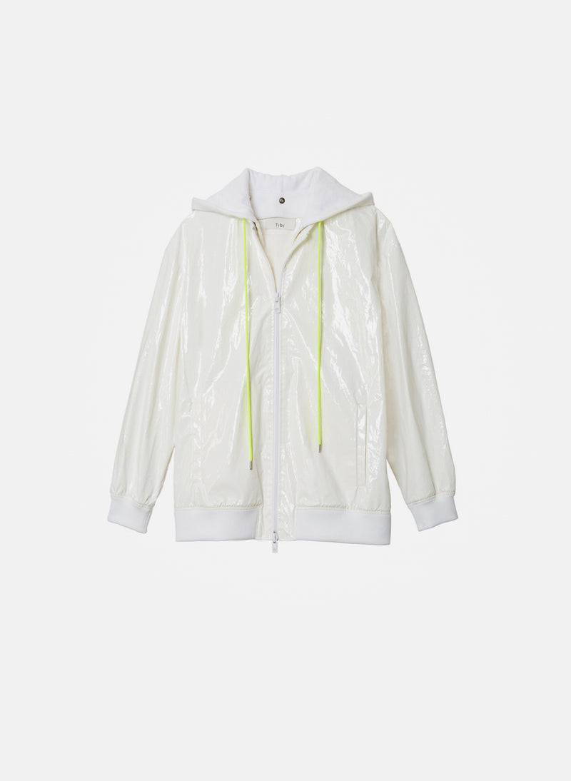 Coated Track Jacket with Removable Hood White-1